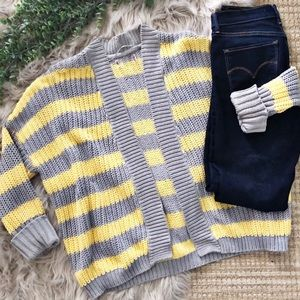 Vintage Boho Baggy Stripe Sweater Cardigan SZ S